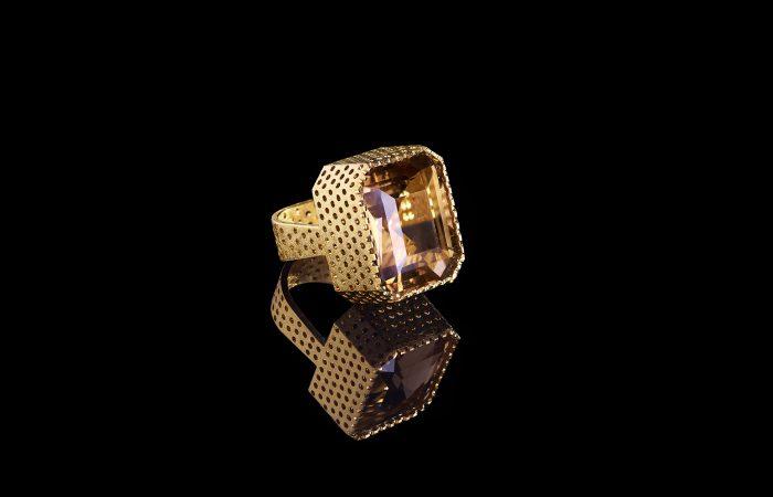 gouden ring met rookkwarts