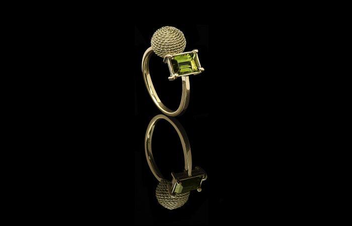 Gouden ring met toermalijn door edelsmid Rotterdam